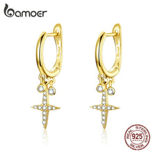 Load image into Gallery viewer, bamoer Gold Color Cross Drop Earrings with Charm Women Fashion Jewelry 925 Sterling Silver Brincos Gifts Accessories BSE230 in-dev
