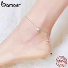 Load image into Gallery viewer, bamoer Simple Design Star Silver Anklet for Women Sterling Silver 925 Bracelet for Ankle and Leg Fashion Foot Jewelry SCT009 in-dev