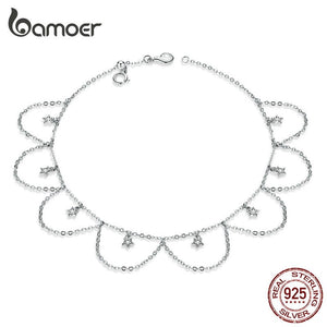 bamoer 925 Sterling Silver Chain Anklet Starry Sky Tassel Pendant Anklet for Foot Fine Holiday Jewelry Accessoreis GAT002 in-dev