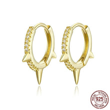 Load image into Gallery viewer, bamoer Gold Color Punk Ear Hoops Sterling Silver 925 Gear Hoop Earrings for Women and Men Zirconia Hiphop Jewelry BSE168 in-dev