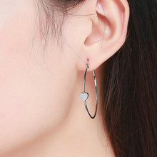 Load image into Gallery viewer, Details of the Heart Hoop earrings