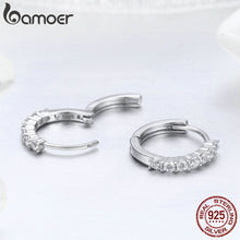 Load image into Gallery viewer, BAMOER 100% 925 Sterling Silver Dazzling CZ Crystal Circle Round Hoop Earrings for Women Sterling Silver Jewelry SCE351-1H in-dev