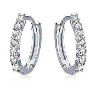 BAMOER 100% 925 Sterling Silver Dazzling CZ Crystal Circle Round Hoop Earrings for Women Sterling Silver Jewelry SCE351-1H in-dev
