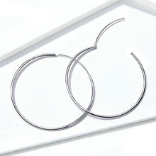 Load image into Gallery viewer, Thin Silver Hoop Earrings