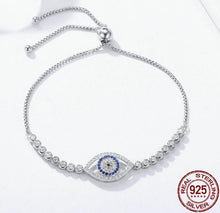 Load image into Gallery viewer, Silver blue eye bracelet with cubic zirconia