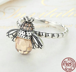 Orange silver bee ring