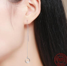 Load image into Gallery viewer, Long tassel circle drop earrings with cubic zirconia on woman