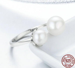 925 Sterling Silver Double Pearl Ring for Women
