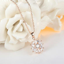 Load image into Gallery viewer, Flower necklace with cubic zirconia in rose gold with clear crystals