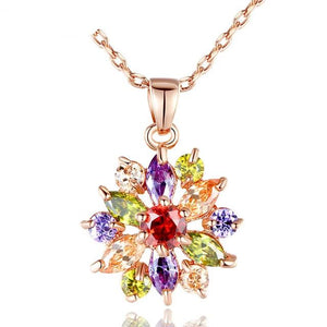 Flower necklace with cubic zirconia in rose gold with colourful crystals