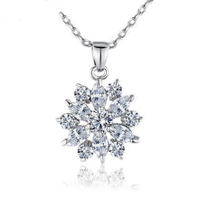 Load image into Gallery viewer, Flower necklace with cubic zirconia in silver with colourful crystals