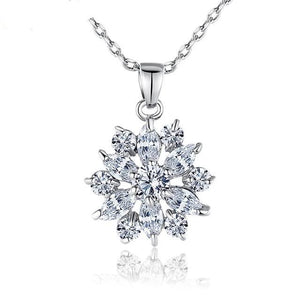 Flower necklace with cubic zirconia in silver with colourful crystals