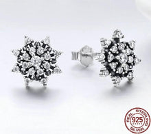 Load image into Gallery viewer, Snowflake silver earrings with cubic zirconia