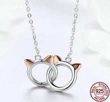 Load image into Gallery viewer, Silver handcuffs cat ears necklace in silver with rose gold ears