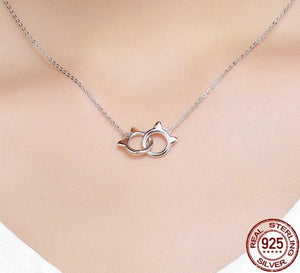 Silver handcuffs cat ears necklace in silver with rose gold ears on woman
