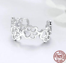 Load image into Gallery viewer, Adjustable paw sterling silver ring