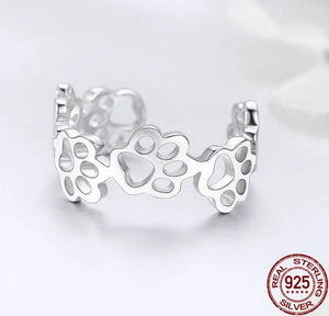 Adjustable paw sterling silver ring