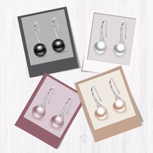 Pearl drop earrings with silver in Black, White, Champaign and Rose colour