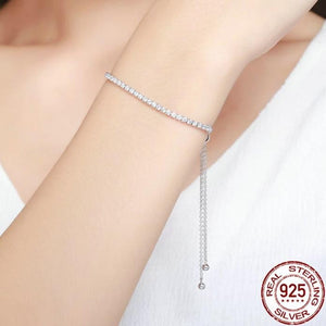 Adjustable Silver Bracelet with clear Sparkling Cubic Zirconia on woman