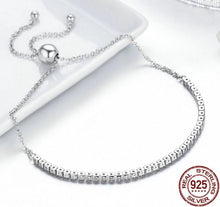 Load image into Gallery viewer, Adjustable Silver Bracelet with Sparkling clear Cubic Zirconia