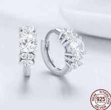 Load image into Gallery viewer, Silver small hoop earrings with cubic zirconia