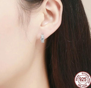 Silver small hoop earrings with cubic zirconia on woman