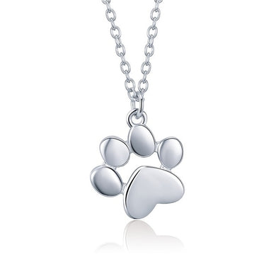 Paw necklace in silver finish