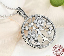 Load image into Gallery viewer, Silver Tree of Life Necklace with cubic zirconia