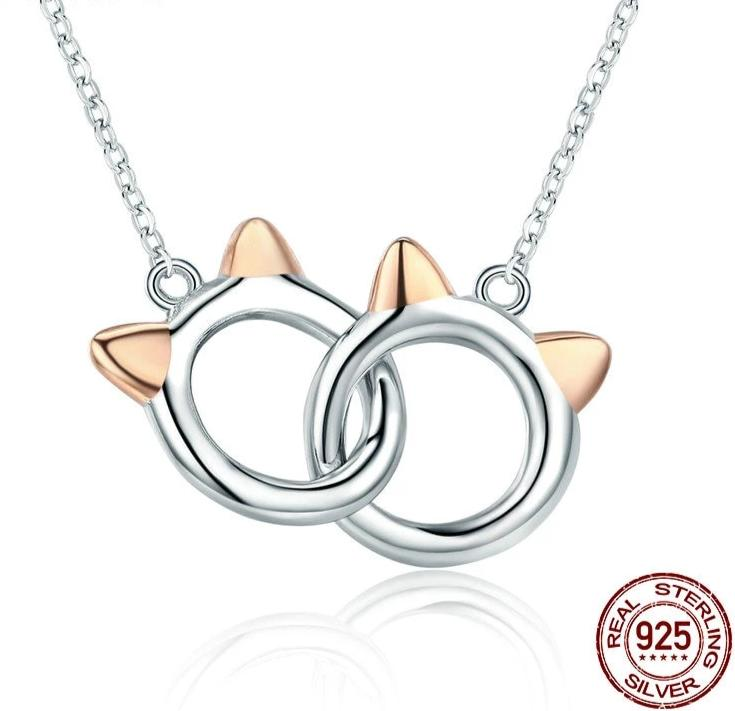 Silver handcuffs cat ears necklace in silver with rose gold ears