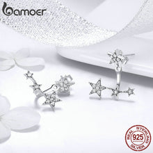 Load image into Gallery viewer, BAMOER Authentic 925 Sterling Silver Clear CZ Luminous Ear Jackets Earrings for Women Silver 925 Women Girl Gifts Jewelry SCE448 in-dev