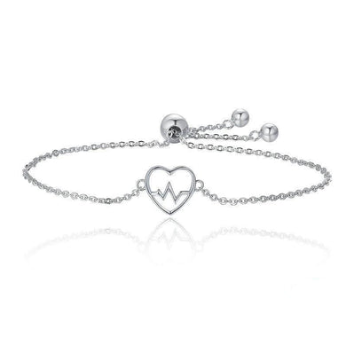 Silver ECG of Love Bracelet with Cubic Zirconia