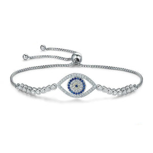 Silver blue eye bracelet with cubic zirconia