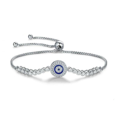 Silver blue eye bracelet with cubic zircons