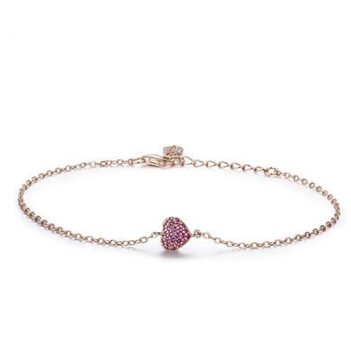 Heart Chain Link Bracelet in rose gold with cubic zirconia