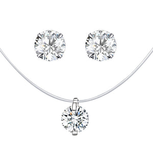 Silver earrings and necklace set with clear cubic zirconia