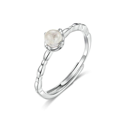 Silver Thin Moonstone Ring