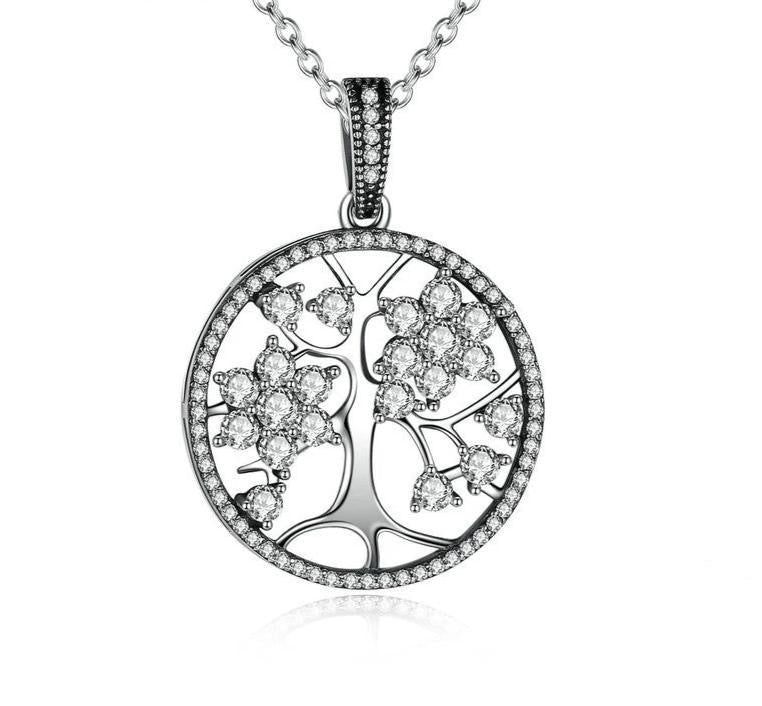 Silver Tree of Life Necklace with cubic zirconia