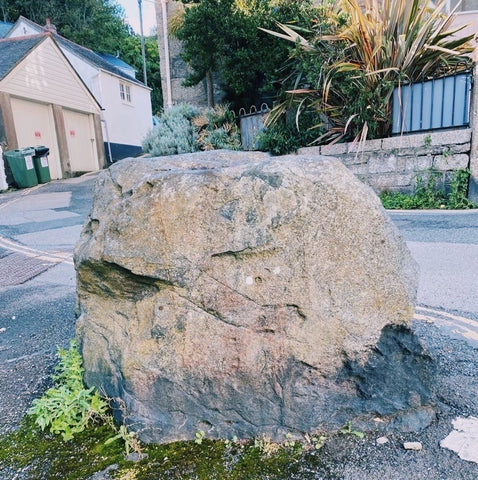 Blue Elvin stone in Mousehole, Cornwall.