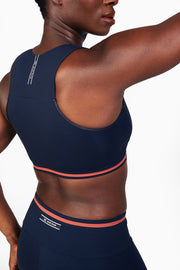Blue Elvin sports bra and leggings, recycled Italian fabrics