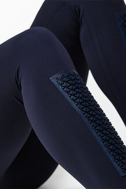 Blue Elvin Leggings with shin protection panels, recycled Italian fabrics