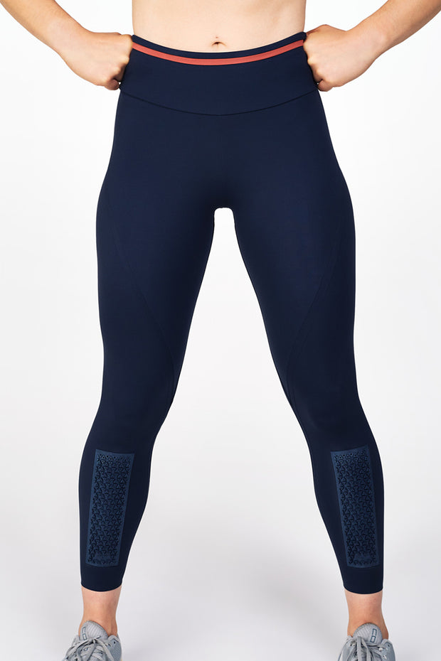 Blue Elvin Leggings with shin protection panels