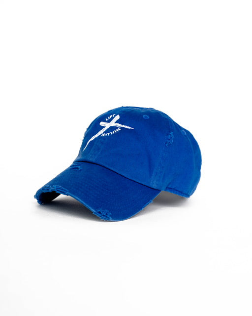 Blue & White LW Distressed Hat