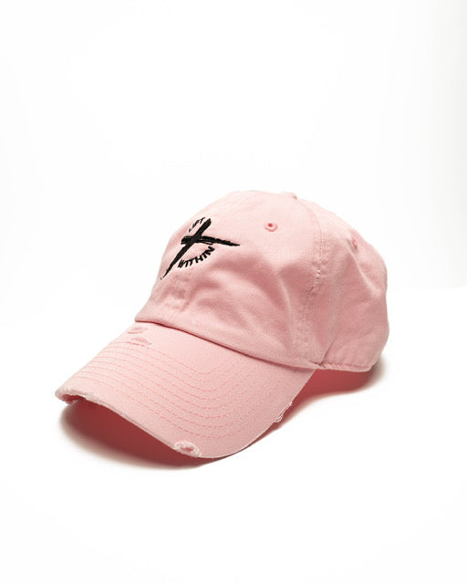 Pink & Blk LW Distressed Hats