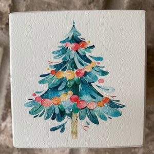 christmas tree wood block