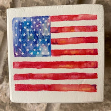 Load image into Gallery viewer, american flag wood block