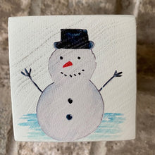 Load image into Gallery viewer, snowman wood block