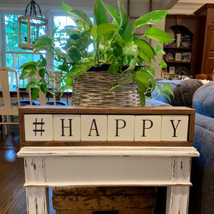 happy wood block word display