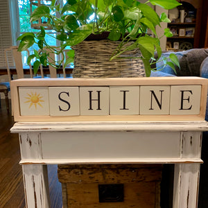 shine wood blocks display