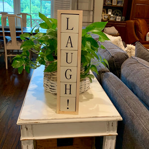 laugh wood block display