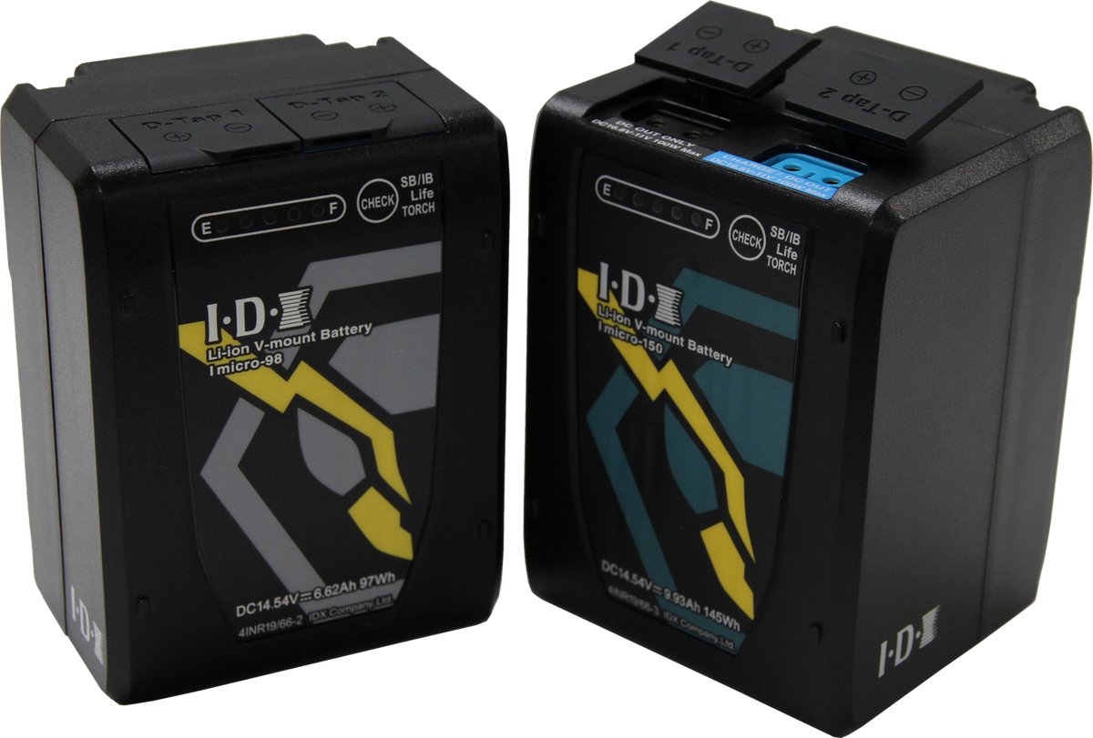 imicro-98 and imicro-150 batteries with d-tap ports showing